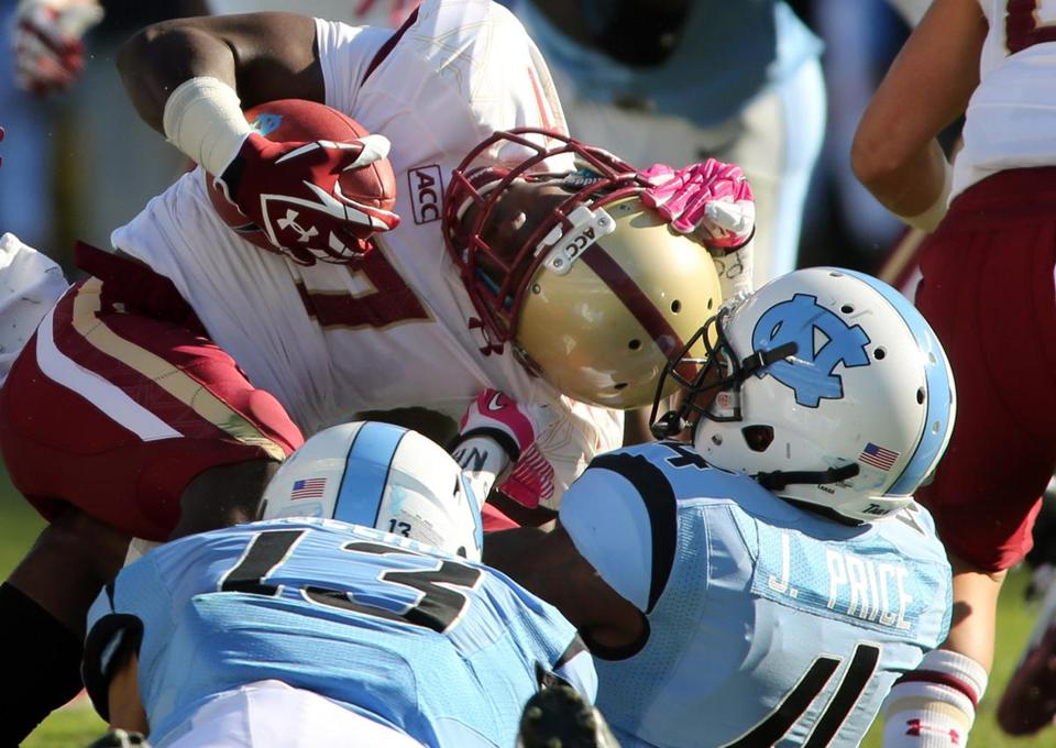 BC receiver Spiffy Evans was roughed up by the  North Carolina defense and wound up with a fractured clavicle.