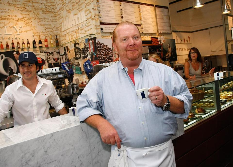 Celebrity chef Mario Batali sampled coffee during a preview tour of Eataly before its grand opening in New York City in August 2010.