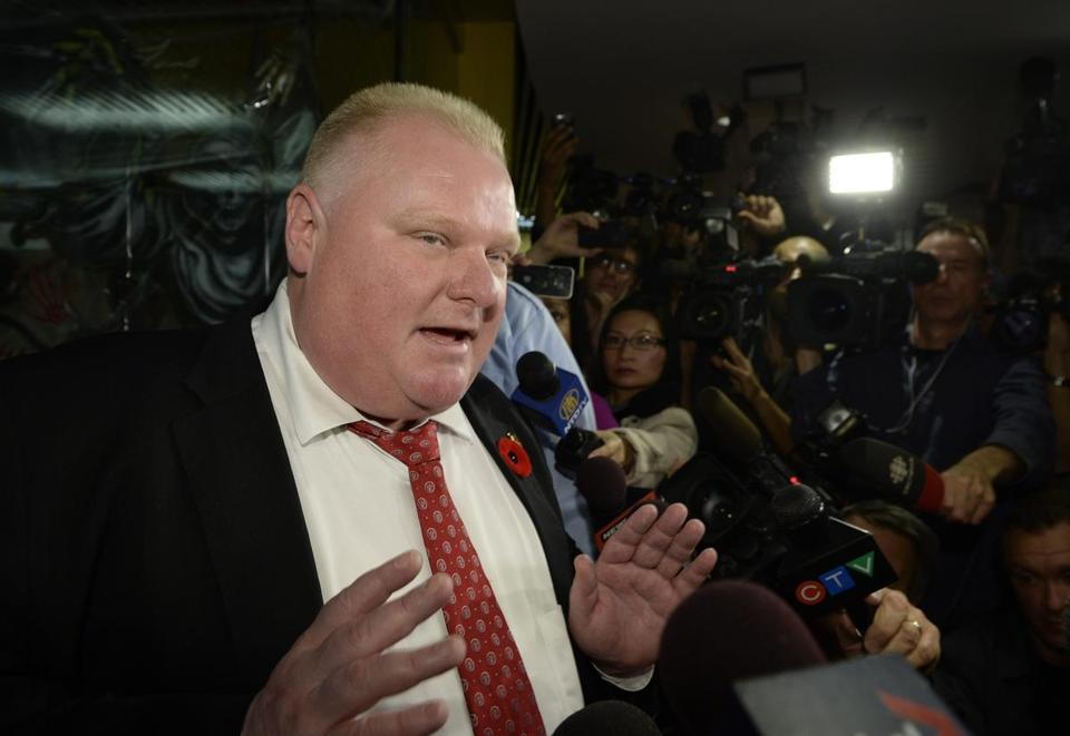 Toronto Mayor Rob Ford spoke with the media at City Hall.