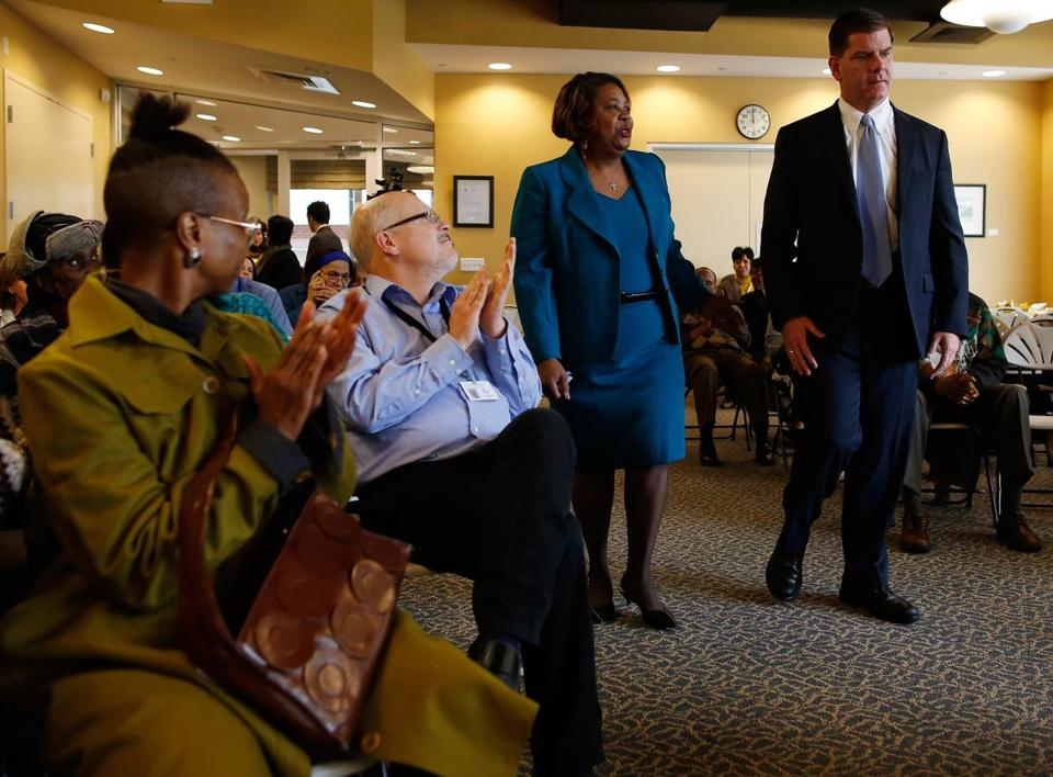 Martin J. Walsh visited a Central Boston Elder Services gathering in Roxbury on Thursday.