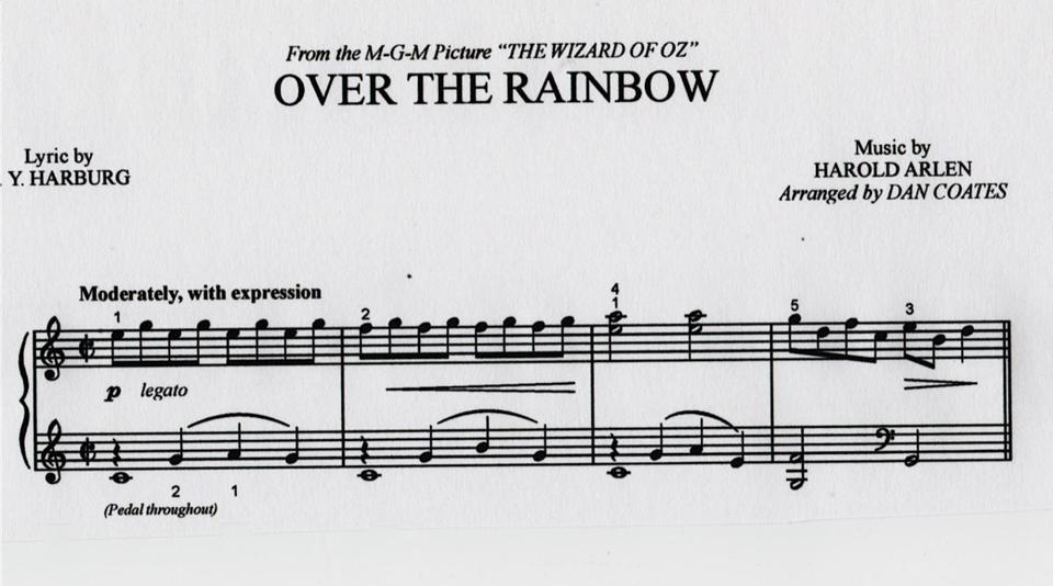 "Sheet music to ""Over the Rainbow, by Harold Arlen."