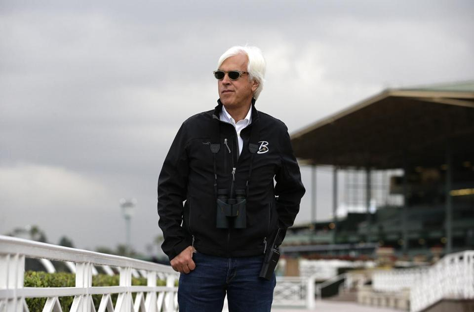 Trainer Bob Baffert watched horses work out Wednesday in preparation for this weekend's Breeders Cup.
