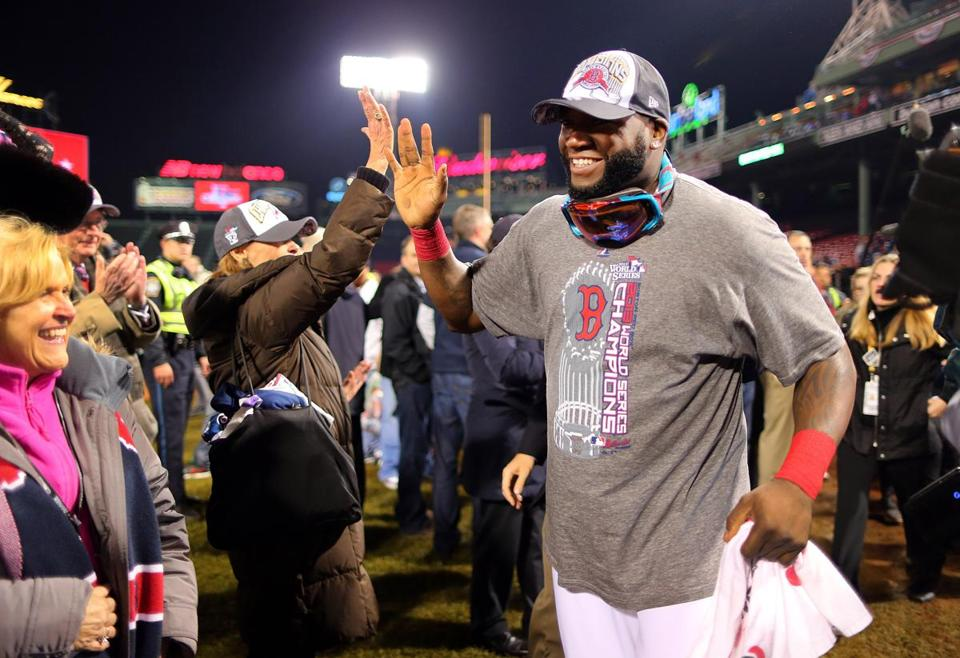 David Ortiz celebrated after the World Series-clinching win.