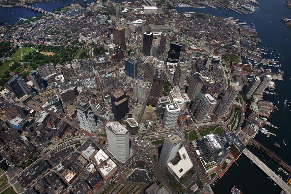 A aerial view of the downtown area of Boston.