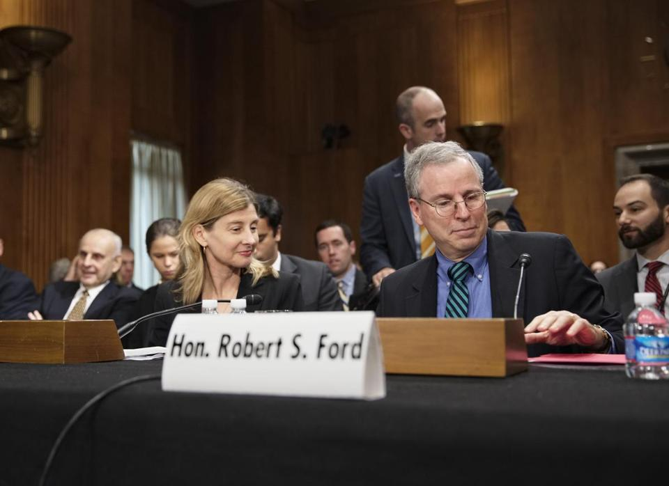 Robert Ford, the US ambassador to Syria, had tense exchanges with two of the committee's harshest GOP critics, senators John McCain and Bob Corker.