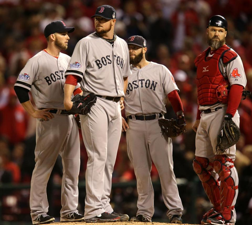 Jon Lester, second from left, and Dustin Pedroia, second from right, are two of the few holdovers from the Red Sox' 2007 championship team.