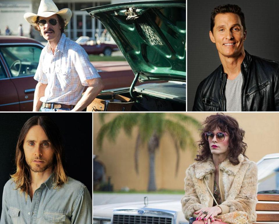 Matthew McConaughey (as Ron Woodroof, top left, and last month, top right) and Jared Leto (in September, left, and as Rayon) play a heterosexual and a drag queen, respectively, who procure drugs for fellow AIDS patients.