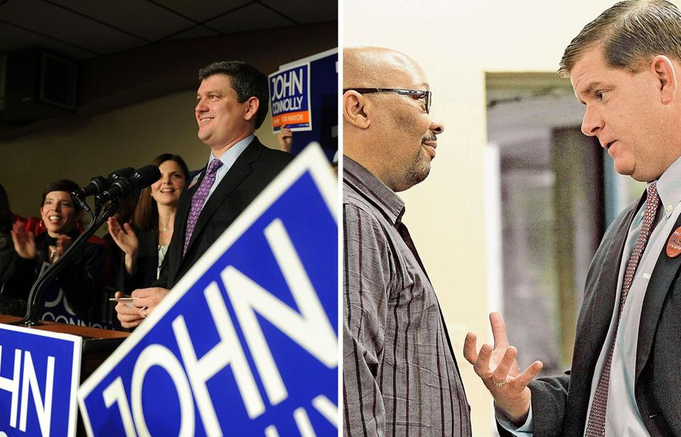 John Connolly (left) campaigned at the Knights of Columbus hall in Roslindale among other spots around the city Friday, and Martin Walsh spoke with Barry Nelson at the Amy Lowell House in the West End, one of his campaign stops.