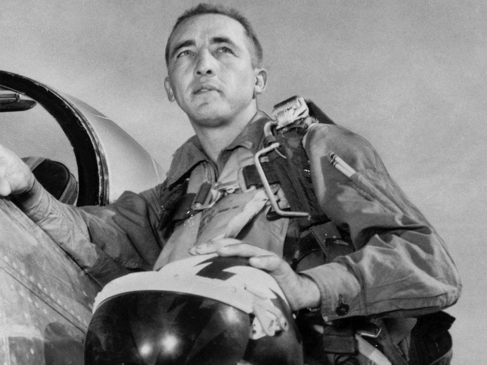 Mr. Risner had established himself as one of America's top pilots. In Korea, he shot down eight Soviet fighters jets.