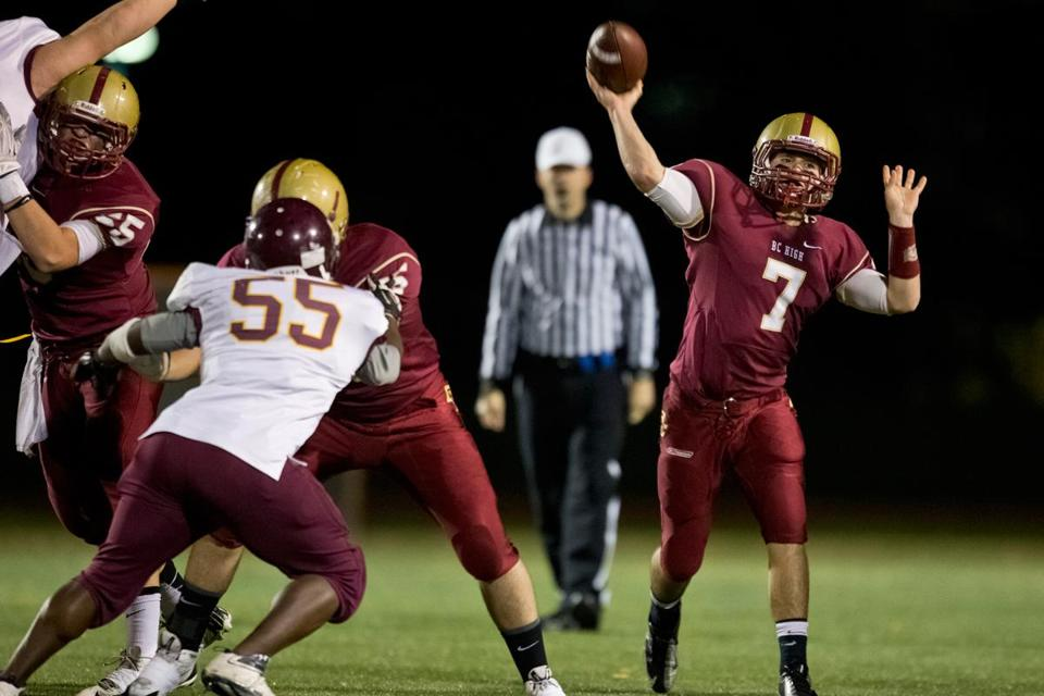 BC High quarterback Sean Holleran completed 8 of 11 passes for 197 yards against Weymouth.