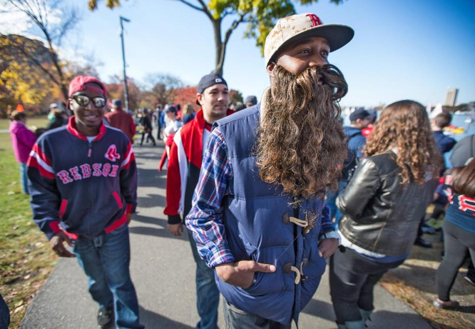 Nkolo Nyada wore the beard from his Jesus Halloween costume to the rally.