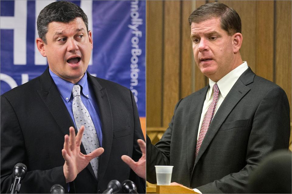 Councilor John R. Connolly (left) and state Representative Martin J. Walsh.