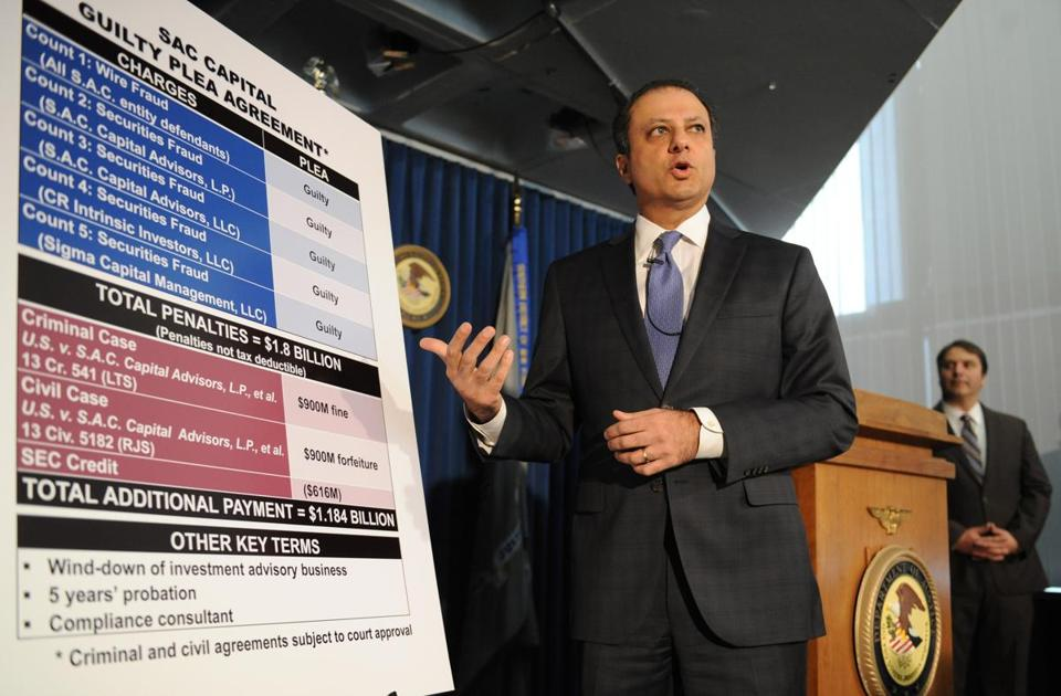 US Attorney Preet Bharara spoke at a press conference Monday in New York.
