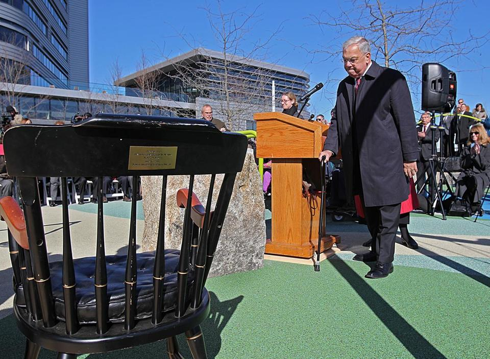 A visibly emotional Thomas M. Menino fought back tears today as he cut the ribbon on a new playground named for him in Charlestown.ng at the podium, he heads back to his seat. Section: Metro Suzanne Kreiter/Globe staff