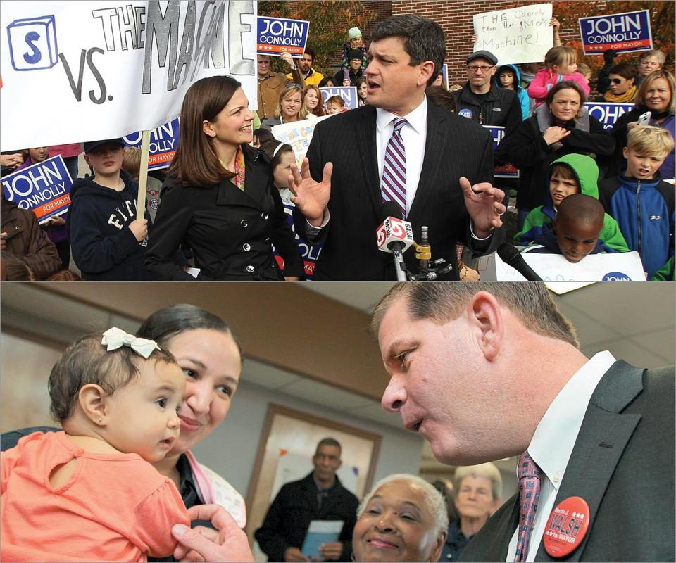 John R. Connolly, with his wife, Meg Kassakian Connolly (above), held a rally at Trotter Elementary School on Sunday. Martin J. Walsh met with the audience after speaking at the CharlesNewtown Community Room on Sunday.