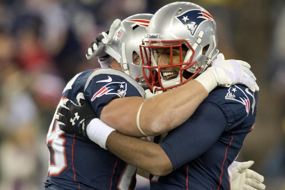 Aaron Dobson (right) celebrates his 81-yard fourth-quarter TD reception with teammate Matthew Mulligan.