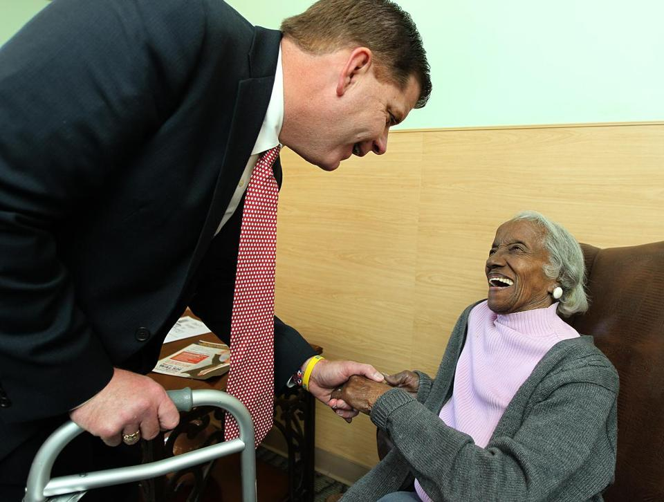 Martin J. Walsh paid a visit to 101-year-old supporter Josephine Worrell on Tuesday.