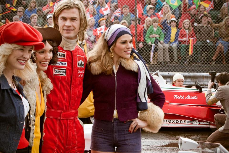 "Chris Hemsworth as Formula 1 race car driver James Hunt in ""Rush."""