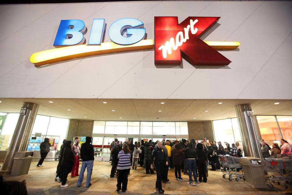 Shoppers waited for a Kmart to open on Thanksgiving night.