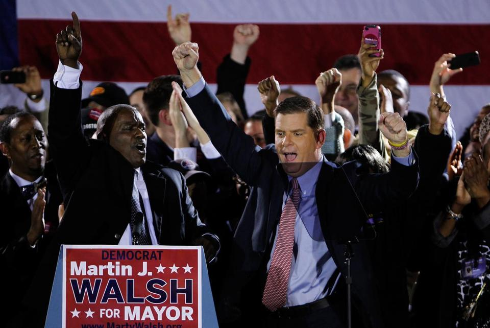 Marty Walsh celebrated his election win.