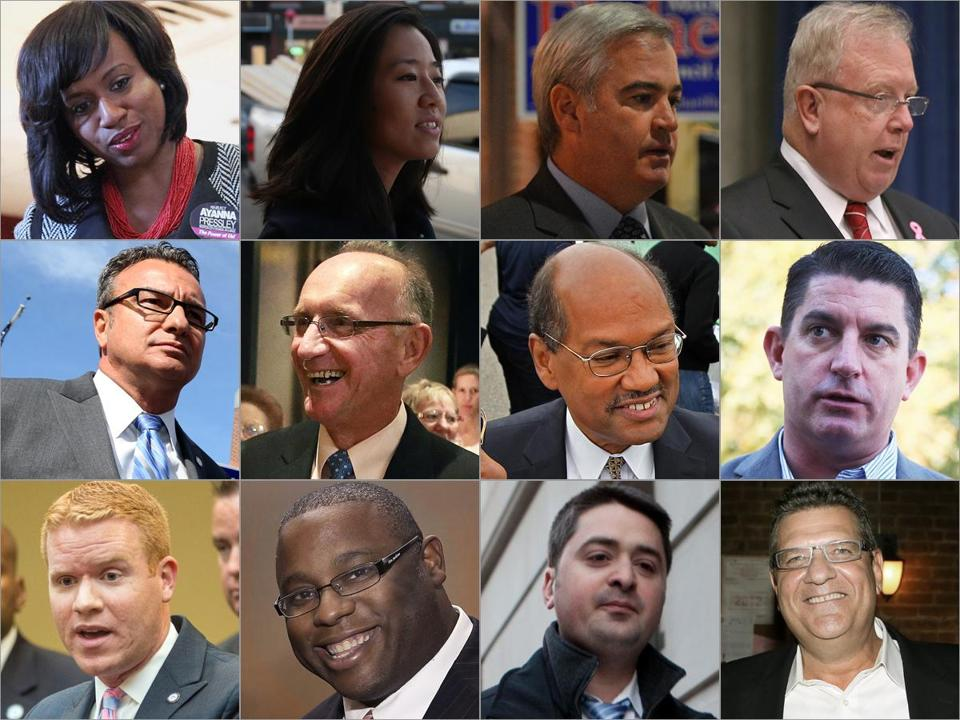 The winners in Tuesday's election. (Top row, left to right) At-large councilors: Ayanna Pressley; Michelle Wu; Michael Flaherty; Stephen J. Murphy. (Middle row, left to right) District 1: Salvatore LaMattina; District 2: Bill Linehan; District 4: Charles Yancey; District 5: Timothy McCarthy. (Bottom row, left to right) District 6: Matt O'Malley; District 7: Tito Jackson; District 8: Josh Zakim; District 9: Mark Ciommo. NOTE: Frank Baker ran unopposed in District 3