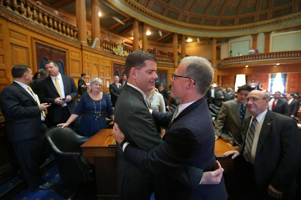 Mayor-elect  Martin Walsh got a hug from state Representative John  Keenan of Salem at the Massachusetts State House on Wednesday.