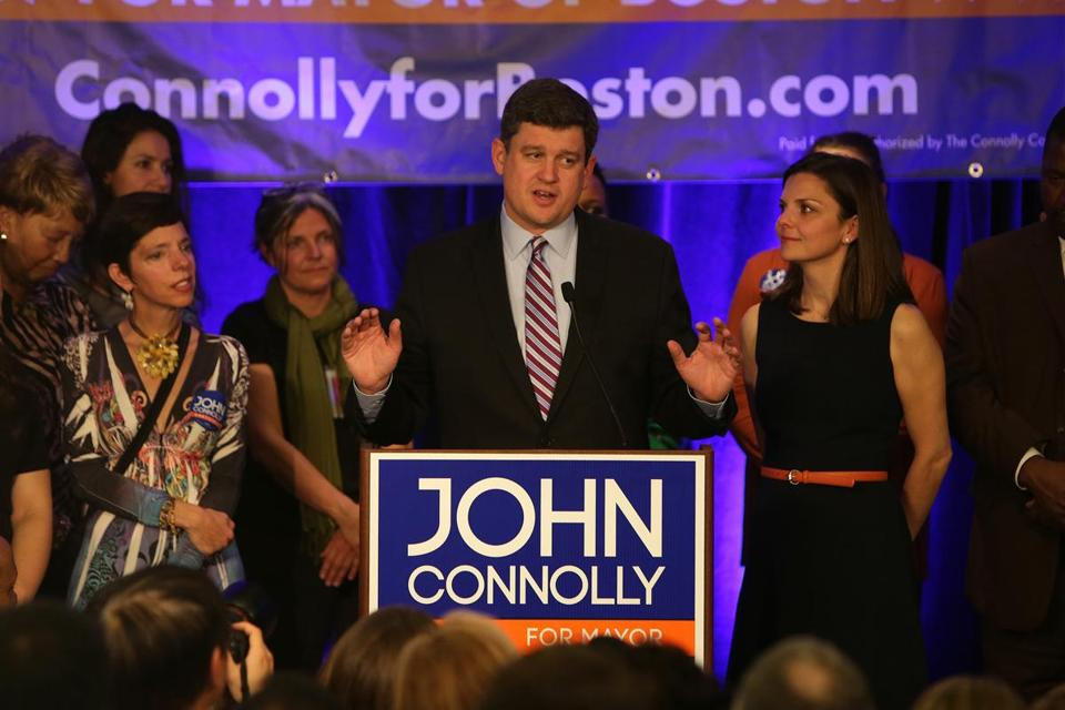 John R. Connolly, with his wife, Meg, thanked supporters at the Westin Copley Place.