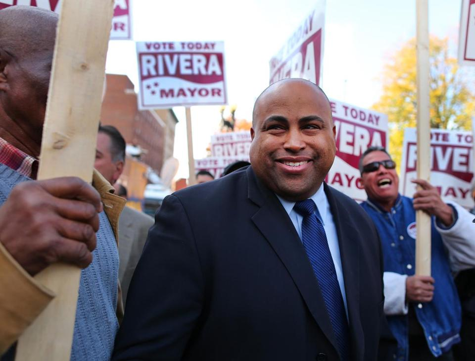 Daniel Rivera declared victory in Tuesday's mayoral election, urging Mayor William Lantigua to concede defeat.