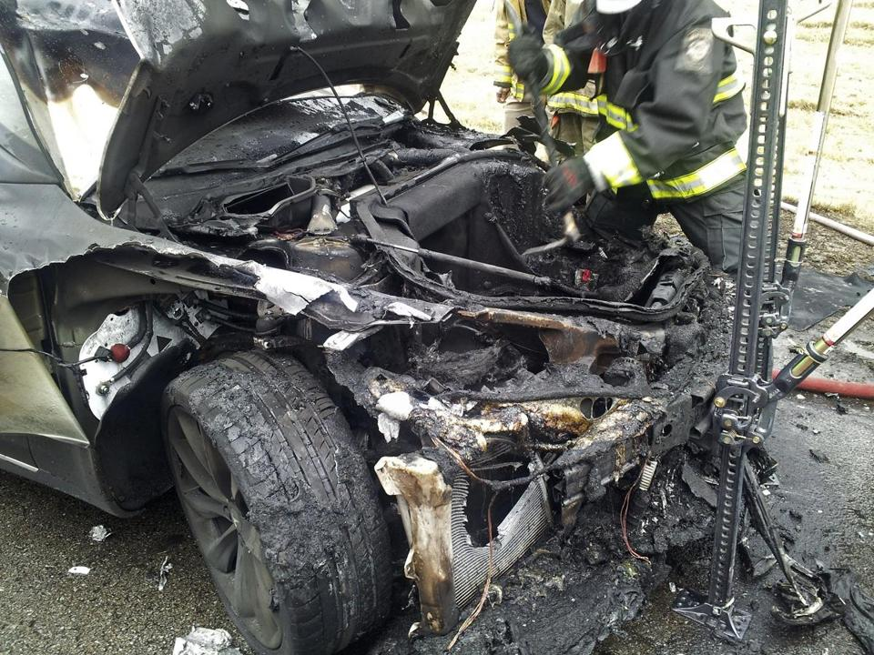 A Tennessee fire chief said intense fire destroyed the front of the Tesla Model S, but not the passenger area.