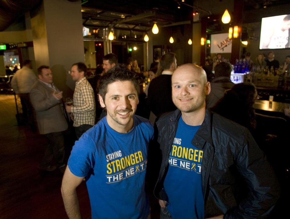 Nicholas Leydon (left) and Chris Mathison have pledged to host 26 social, sporting, and service events around the city before the next Boston Marathon.