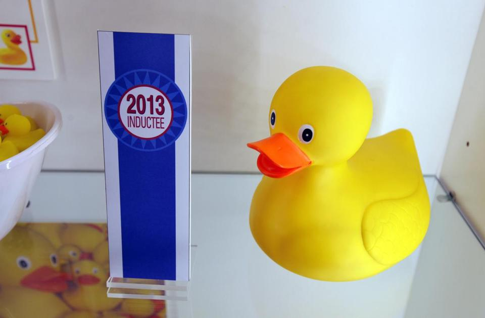 A rubber duck was on display during the National Toy Hall of Fame ceremony at the National Museum of Play.