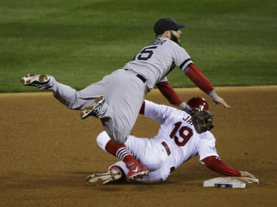 Boston Red Sox second baseman Dustin Pedroia (15) leaps over St. Louis Cardinals center fielder Jon Jay (19) as he throws to first on an attempted double play on a single by David Freese during the fourth inning of Game 4 of baseball's World Series Sunday, Oct. 27, 2013, in St. Louis. (AP Photo/Charlie Neibergall)