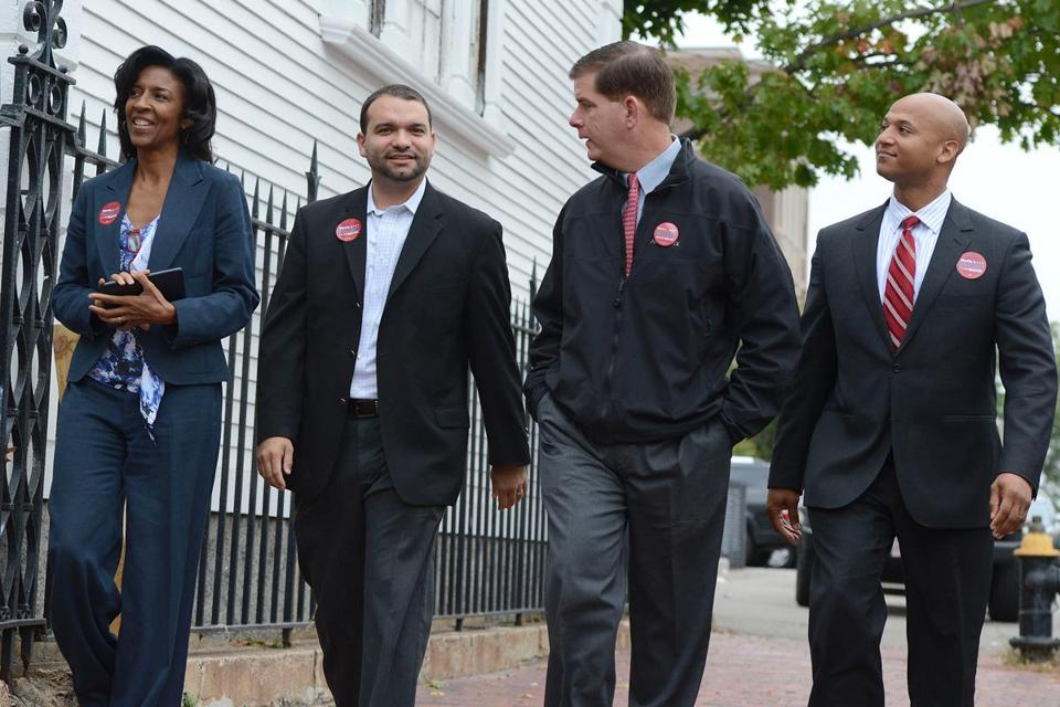 Charlotte Golar Richie, Felix Arroyo, Martin Walsh, and John Barros appeared together on Oct. 12 to announce Golar Richie's endorsement.