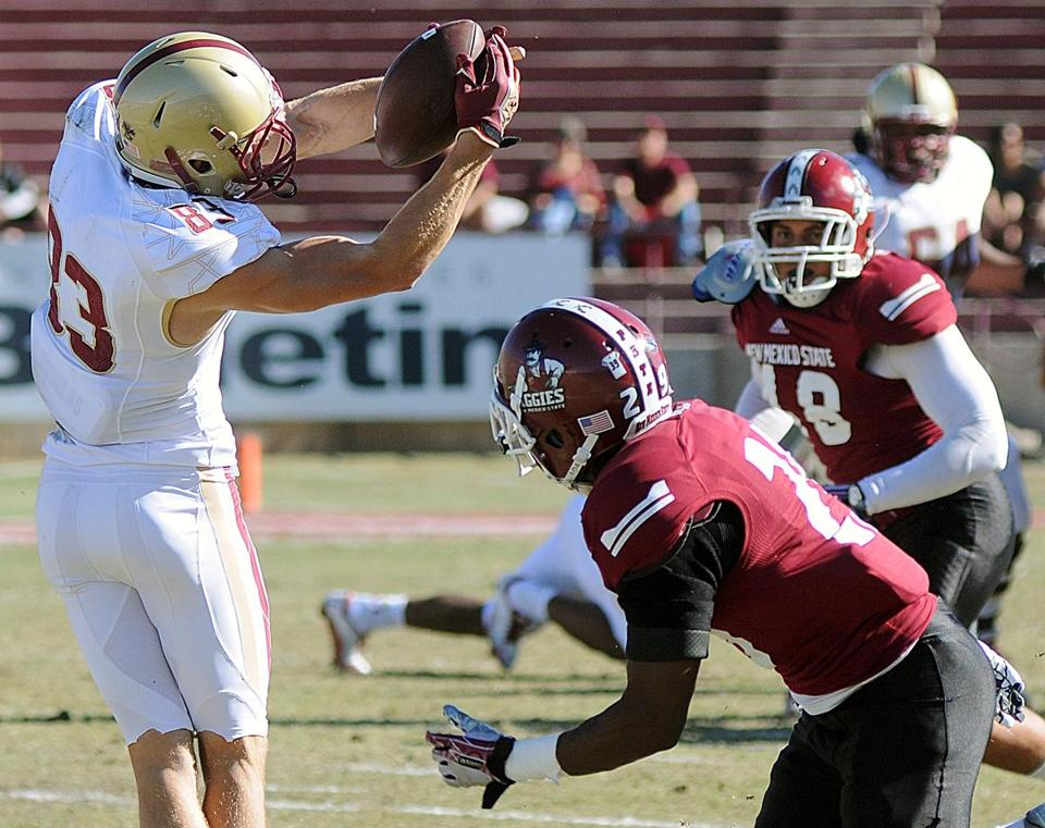 Alex Amidon made a catch during Saturday's game at New Mexico State.