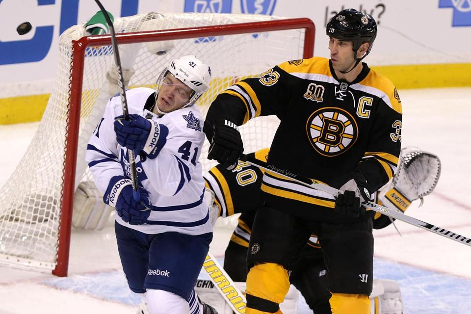 No matter where he was, Zdeno Chara made his presence felt against the Maple Leafs.