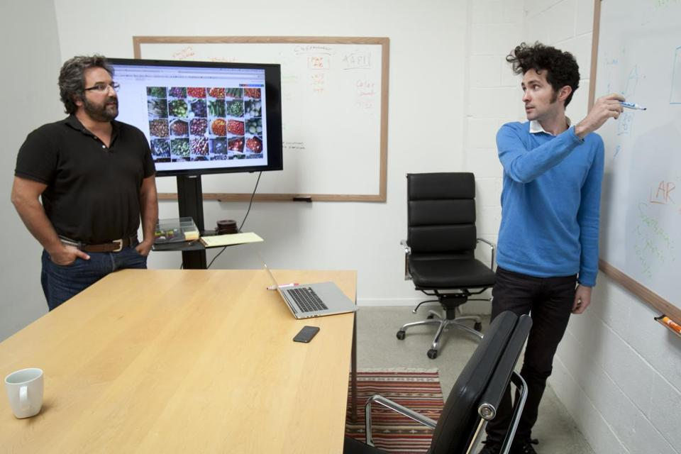 David Soloff (left) and Joe Reisenger created a smartphone application to gather data.