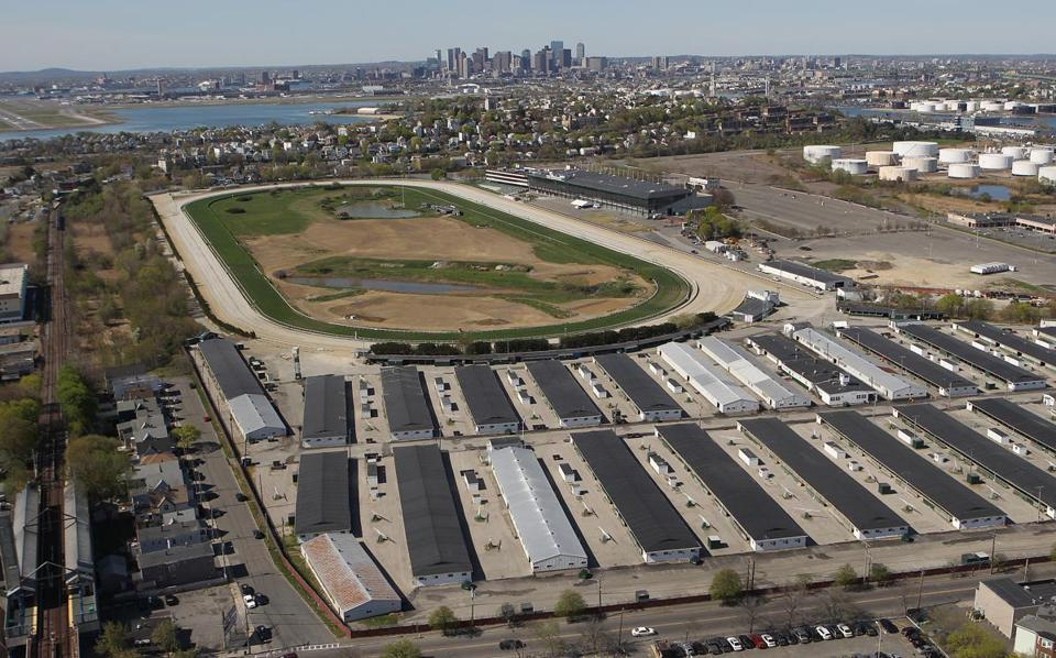 An aerial view of Suffolk Downs.