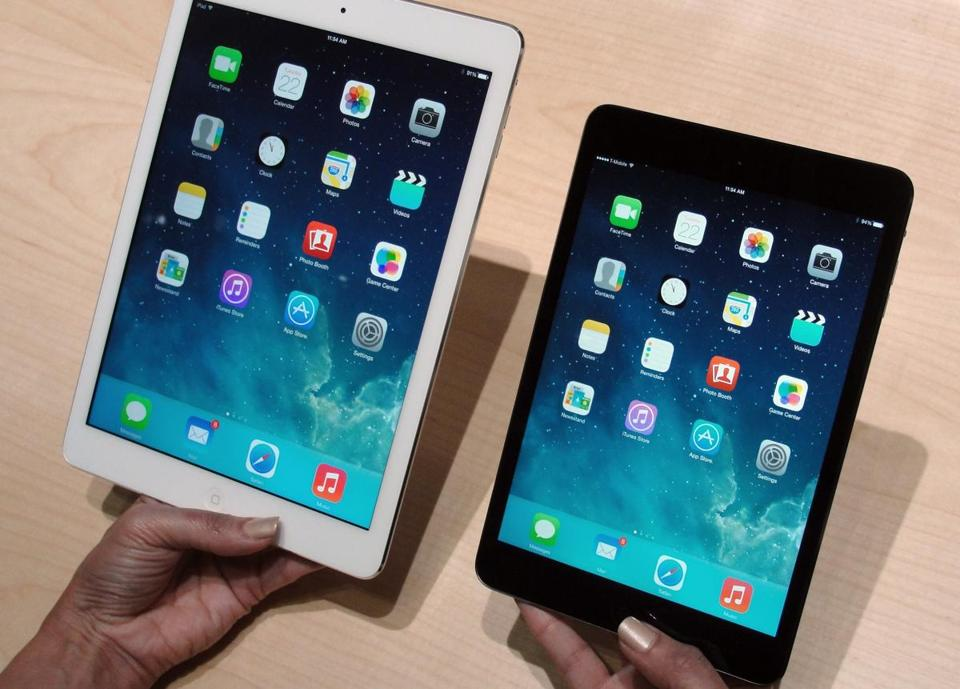Apple's newest iPad Mini tablet (right) was unveiled at an October event in San Francisco.