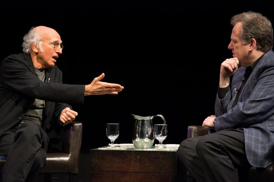 Larry David (left) and Michael Kay at Emerson College on Wednesday night.