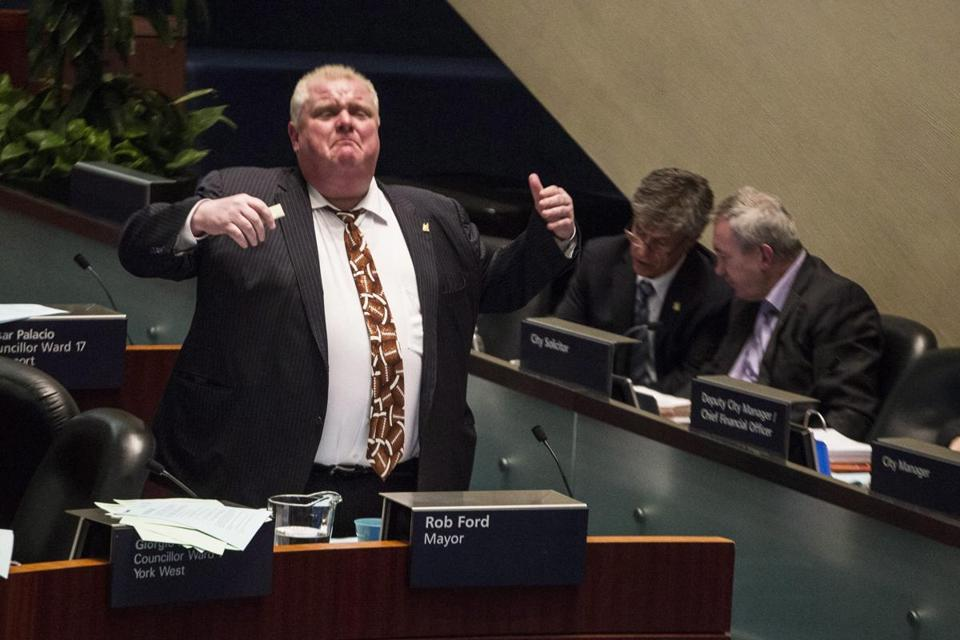 Toronto Mayor Rob Ford spoke on the floor of the council chamber in Toronto on Thursday, Nov. 14, 2013.