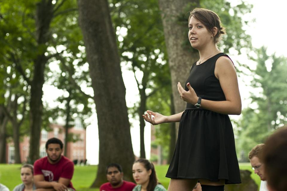 Angie Epifano spoke to students and faculty last summer about her college experiences.