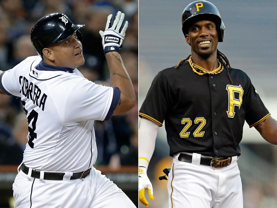 Miguel Cabrera (left) and Andrew McCutchen were named the American and National League MVPs, respectively, on Thursday.