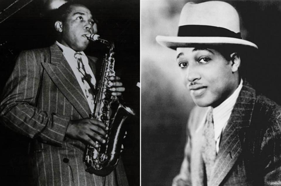 From left, Charlie Parker and Duke Ellington.