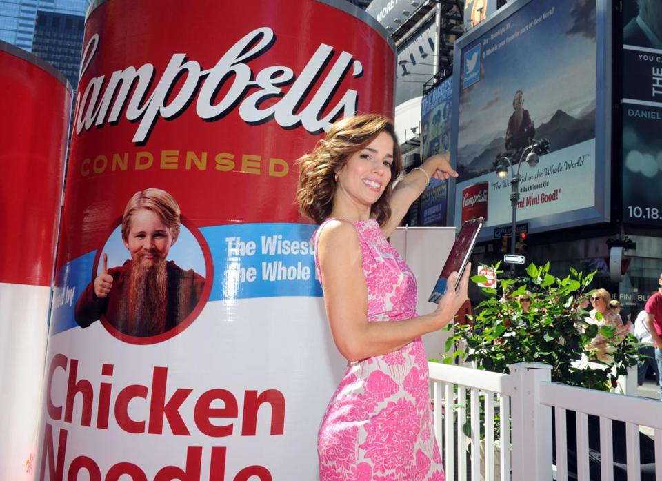 Campbell seeks a new image. It is, for instance, selling soups in plastic pouches. Above, actress Ana Ortiz promoted the brand.