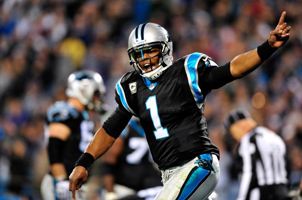 Cam Newton celebrated after throwing the game-winning touchdown.