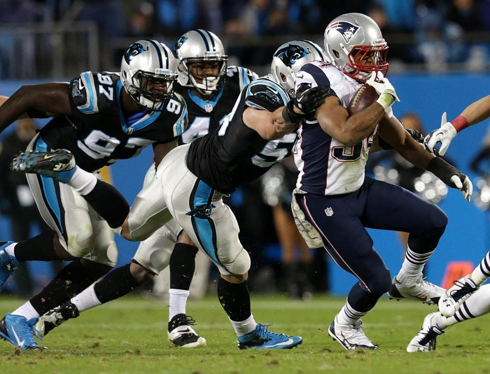 Shane Vereen broke tackles and rumbled for 65 yards on eight receptions.