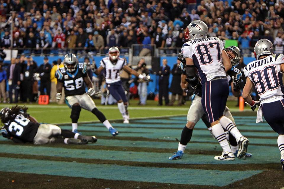 Carolina's Robert Lester (38) secured this Tom Brady interception to seal the win.