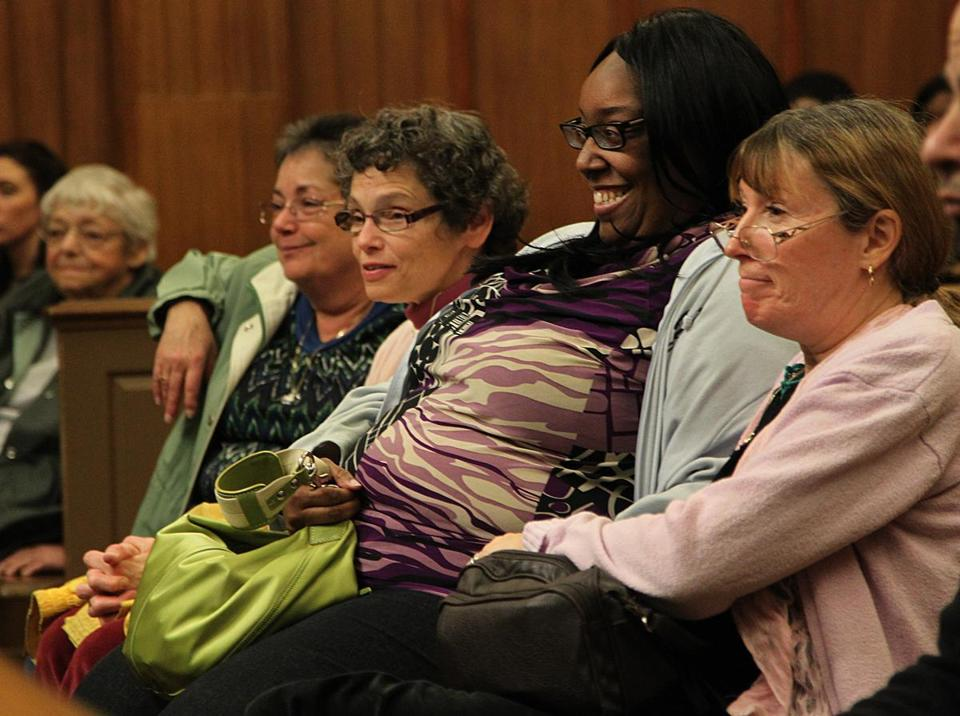 From left, Mike's grandmother, Bernice Bourne, aunts Lori Taggart and Rhonda Bourne, girlfriend Renee Johnson, and mother, Peggy Bourne, listened as one of Mike's cases was heard.