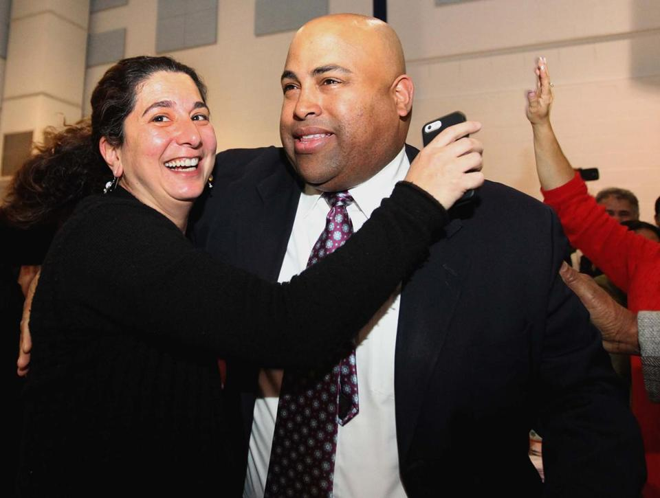 Supporters celebrated with Daniel Rivera following the election recount in Lawrence.