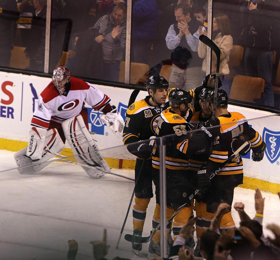 The Bruins celebrated David Krejci's game-winning goal in overtime.